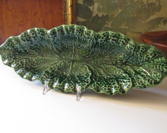 "Vintage England Shorter & Son, Majolica Green ""Cabbage Leaf"" Tray, Gourmet Ware, Stoke-On-Trent England, Alfresco Dining"