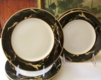 Vintage Set of Six Small Plates by Mikasa, Travertine Black, Hollywood Regency, Black Marble Style Bread and Butter Plates, Wine and Chesse