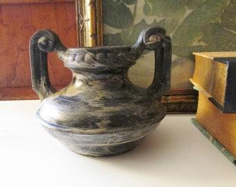 Vintage Synthesit Germany Vase, Rare 1930's Vase, Black Marble Style Vase, Art Pottery Vase, Greek Style Vase, Hollywood Regency