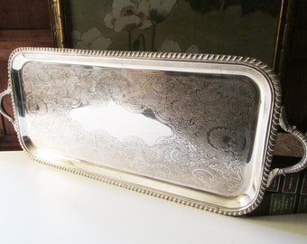 Vintage Rectangular Silver Plated Tray, Vintage Wedding Silver, Vanity Tray, Bar Tray, Drinks Tray, Grand Millennial Style Bar Tray