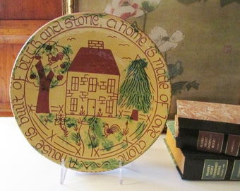 Vintage Breininger Pottery Dish, A House is built of Brick and Stone, A Home Is Made of Love Alone, Farmhouse Decor, Housewarming Gift
