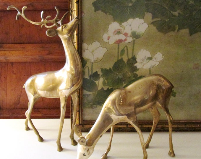 Featured listing image: Vintage Pair of Brass Reindeer, Holiday Mantel Decor, Christmas Brass Decor, Buck and Doe, Woodland Animals, Hollywood Regency