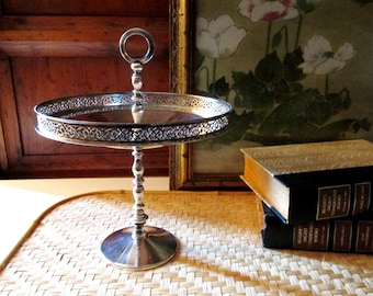 PM Italy Silver Plated Plated Dessert Stand, Soap Stand, Jewelry Stand, Hollywood Regency, Filigree Gallery Tray, Round Tray