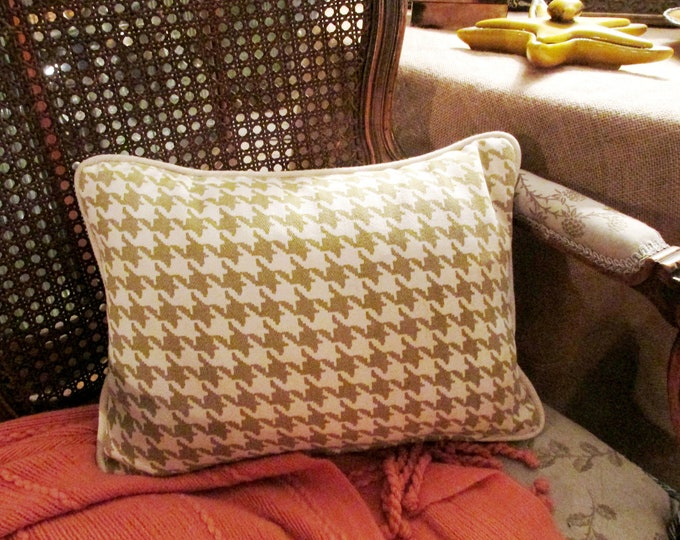 """Featured listing image: Vintage Houndstooth Pillow, Sage Green and Cream Pillow, Small Lumbar Pillow, 12"""" x 16"""" Pillow, Calico Corners"""