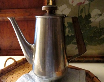 International Silver Co Decorator  Stainless Steel Coffee Pot, Fascination Pattern, 1970's Tall Coffee Pot, Retro