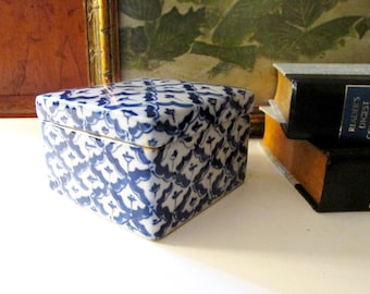 Vintage Blue And White Decorative Box, Chinoiserie Box, Heavy Porcelain Trinket Box, Square Container, Hand Painted Box