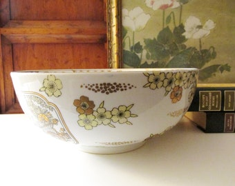 Vintage Gold Imari Large Centerpiece Bowl, Oriental Hand Painted Footed Bowl, Chinoiserie, Porcelain Bowl