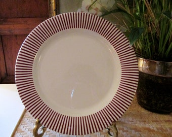 Gien France Dinner Plate, Soleil Rouge Dinner Plates, Red Stripe Plate, French Chic, Hollywood Regency France
