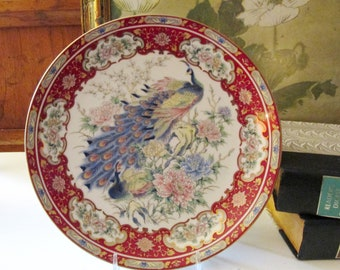 Vintage Japanese Porcelain Cabinet Plate, Chinoiserie Peacock, Imari Style Florals,