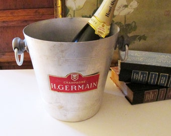 Vintage H. Germain Champagne Bucket, French Aluminum Ice Bucket,