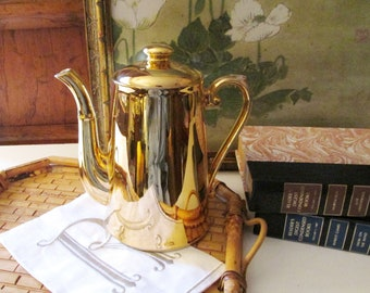 Royal Worchester Gold Lustre Coffeepot, English Coffeepot, Hollywood Regency, Gilded Coffeepot, Holiday Dining