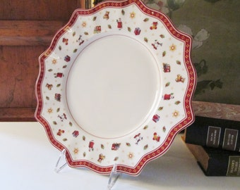 Villeroy & Boch Toy's Delight Dinner Plate, Christmas English Cottage Decor, Folk Art Christmas Plate