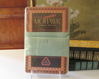 1953 Steven's Mohawk Pillowcases, Pair of Teal Green Cotton Pillowcases, Standard Pillowcases, New Old Stock