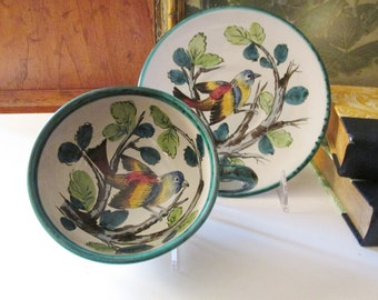 Vintage Italian Large Cup and Saucer, Italian Pottery, Gift For Bird Lover, Hand Painted Italy Bird Teacup