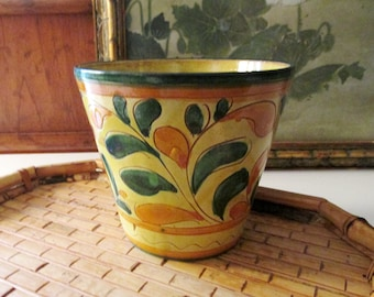 Vintage Italian Flower Pot, Hand Painted Pottery Flower Pot, Italian Tuscan Decor, Farmhouse Country Cachepot
