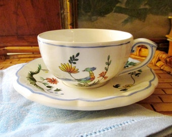 Oiseau De Paradis by Gien China Flat Cup and Saucer, French Country, Bird of Paradise, Chinoiserie Chic Dinnerware
