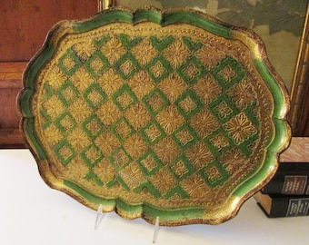 Italian Florentine Tray, Green and Gold Scallop Edge Tray, Hollywood Regency Decor, The Gilded Tassel, Vintage Decorative Tray