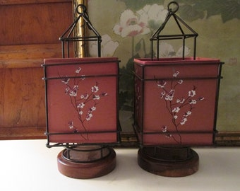 Two Vintage Shoji Screen Lanterns by Pottery Barn, Cherry Blossom, Chinoiserie Candle Holders