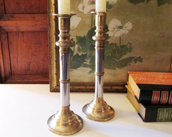 Vintage Brass and Steel Candlesticks, 1980's Hollywood Regency Candleholders, Mantel Decor, Coffee Table Decor, Mixed Metal Candlesticks