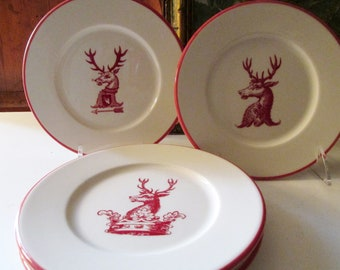 Set of Four Stag Plates, Williams-Sonoma Preppy Red and White Small Plates, Coat of Arms, Crown, Antlers, Appetizer Plates