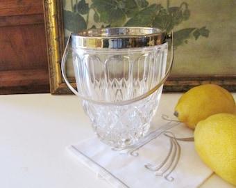 Vintage Crystal Mini Ice Bucket with Handle, Hollywood Regency Ice Bucket, Vintage Barware, Individual Ice Bucket