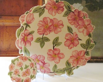 Six Franciscan Desert Rose Placemats and Coasters, Set Of Six, Made in England, Alfresco Dining, Round Pink and Green Roses