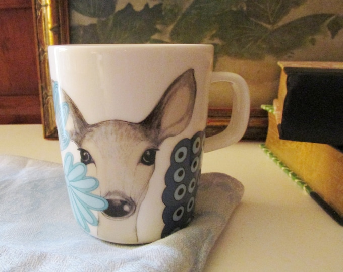 Featured listing image: Marimekko Lama Coffee Cup, Boho Chic Porcelain Tea Mug, Lama Mug, Mod Pop Art Mug, Vintage Gift