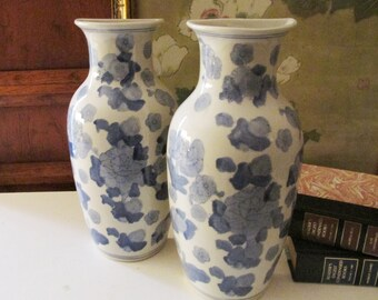 Two Blue and White Chinoiserie Wall Pocket, Blue and White Vase, Wall Decor, Palm Beach Decor, Wall Gallery Decor, Vase Wall Pocket