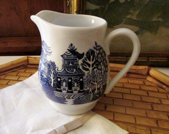 Vintage Blue Willow Creamer, Blue and White, Royal Cuthbertson, Milk Jug, Chinoiserie China