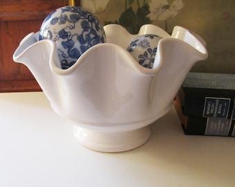Vintage White Ruffled Centerpiece Bowl, Pier 1 Imports, Dolomite Collection, Wedding Decor, Salad Bowl