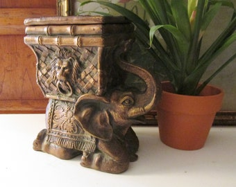 Elephant Cachepot with Lid, Chinoiserie Chic Decor, Bronze Finish Elephant and Bamboo Vessel, Boho Chic Table Decor, Planter, Cachepot