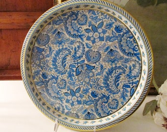 Vintage Vienna Woods Design Drinks Tray, Round Tin Blue Paisley Tray, Alfresco Dining, Bar Cart Decor