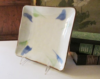 Vintage Pottery Barn Japanese Pottery Tray, Square Trinket Tray, Abstract Tray in Blues and Green, Pottery Catchall Tray