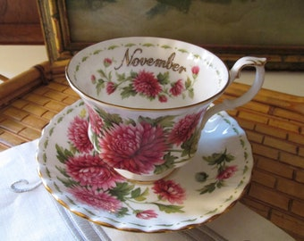 Royal Albert Fine Bone China, Teacup and Saucer, November, Flower of The Month, English Country, Romantic Porcelain,