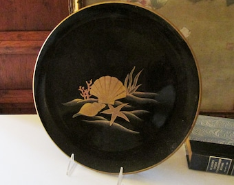 Otagiri Lacquer Tray, Hollywood Regency, Palm Beach Decor, Gilded Seashells, Black Lacquer Tray, Bar Tray