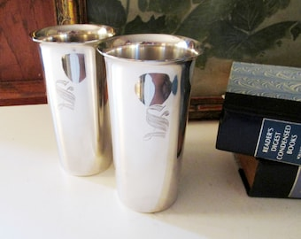"""Two Eugen Ferner Silver Plated Tumblers, 1959 Barware, Hollywood Regency, Engraved """"S"""" Tumblers"""