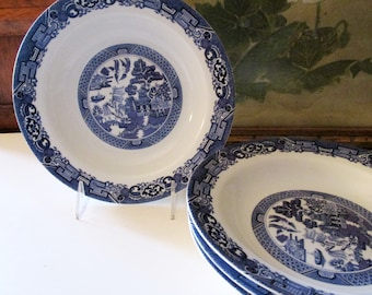 Four Blue Willow Rim Soup Bowls., Royal Cuthbertson, Blue and White Bowls, Chinoiserie Dinnerware