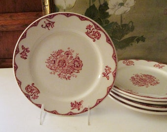 Vintage Restaurant Plate, Sterling China Company, Red and White, Bistro China, Buffalo China, Hotelware, 1950's Lucheon Plate
