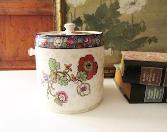 Crown Ducal Ware England Chinoiserie Floral Jar, Biscuit Barrel Jar, Vintage English Cottage Decor
