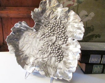Vintage Arthur Court 1993 Grape Leaf Platter, Wine and Cheese Tray, Housewarming Gift, Centerpiece Silver Tray
