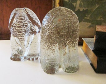 Blenko Glass Elephant Bookends, Mod Art Glass Bookends, Figural Bookends, Paperweight, Textured Glass, 1970's Decor