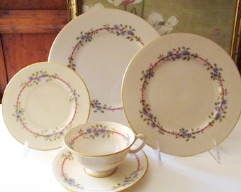 "Vintage ""Belvidere"" by Lenox USA Dinnerware, Wedding China, Pink and Blue Floral, Dinner Plate, Salad Plate, Cup and Saucer, Elegant Dining"