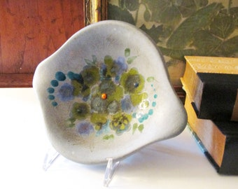 Sascha Brastoff Pottery Dish, American Pottery, Free Form Design, Vintage Pottery Gift, Turquoise Hand Painted Dish, MCM