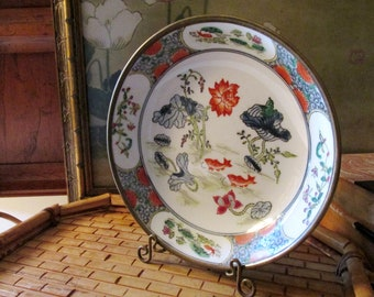 Vintage Brass Chinoiserie Dish, Decorative Koi Motif Encased Brass Dish, Coffee Table Decor, Japanese Porcelain