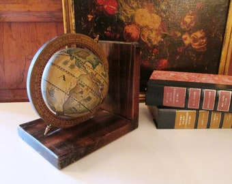 Bookshelf globe etsy vintage large old world globe bookend bookshelf decor library decor old world map single bookend decorative old world globe gumiabroncs Choice Image