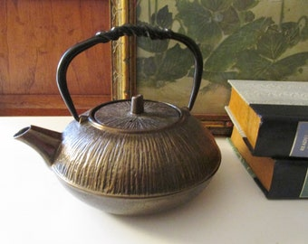 Vintage Asian Bronze Teapot, Cast Iron Teapot, Chinoiserie Teapot, English Country Decor, Gift For Tea Lover, Housewarming Gift