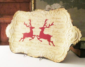 Vintage Inspired Christmas Reindeer Tray, Tole Metal Red Reindeer Tray, Footed Bar Tray, French Bistro Cottage, Farmhouse Christmas Bar Tray