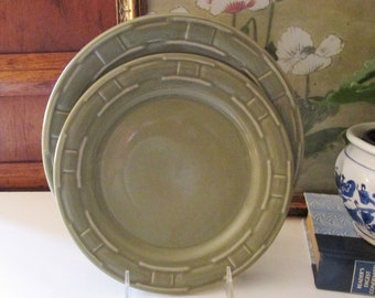 Longaberger Woven Traditions Dinnerware, Longaberger Sage Green Plates, Made in USA, Farmhouse Chic