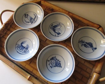 Five Oriental Coastal Beach Chinoiserie Blue and White, Oriental Style Dishes, Nut Dishes, Asian Hallmarks, Shrimp, Shell, Fish, Crab