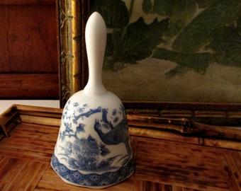 Vintage Blue and White Dinner Bell, Porcelain Chinoiserie Bird Bell, Japanese Blue Transferware Bell, Action Japan